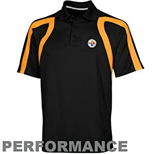 NFL Antigua Pittsburgh Steelers Point Polo - Black by Antigua