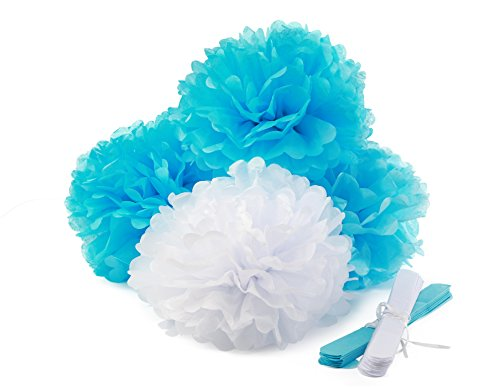 Party Decoration Kit - Set of 100 Helium Latex Balloons, 6 Tissue Paper Flower Pom Poms, 2 Crepe Streamers, 1 Curling Ribbon Spool for Birthdays, Baby Showers, Graduation, Nursery Decor by LOCO FIESTA (Streamer Teal compare prices)
