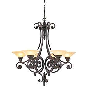 Murray Feiss F1677/6PAL Casbah Six-Light Chandelier, Palladio with Ambert Etched Glass Shades