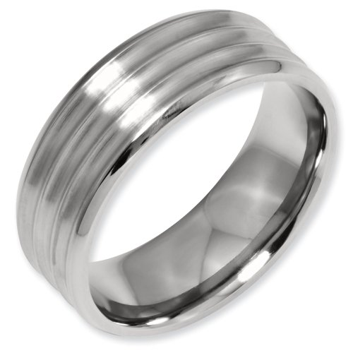 Titanium Grooved Beveled Edge 8mm Brushed and Polished Band Ring Size 12.5 Real Goldia Designer Perfect Jewelry Gift for Christmas