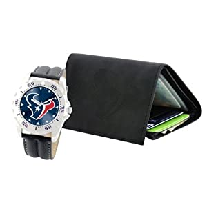 Game Time Mens NFL-WWG-HOU Houston Texans Analog Strap Watch and Wallet Set by Game Time