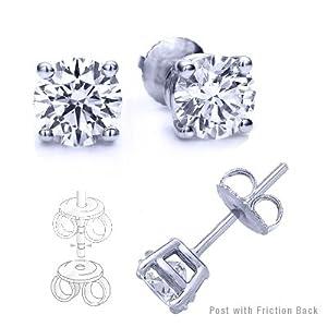9.00 Carat Total Cubic Zirconia 925 Silver Stud Earrings. Round Stones 4.50 Carat Each