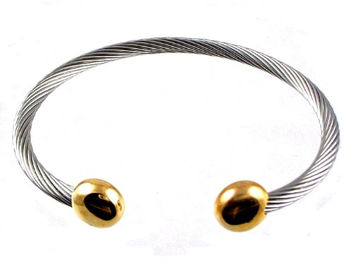 Stainless Steel Wire Gold End Pain Magnetic Bracelet, Large-7.75