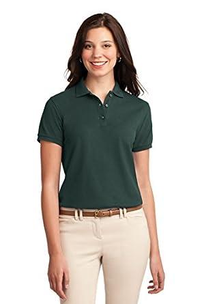 Port Authority L500 Ladies Silk Touch Polo - Dark Green - XS