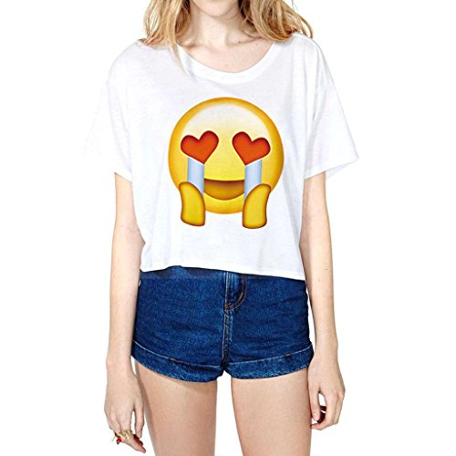 夏用のジョイ絵文字柄Tシャツクロップトップスと女性クライ