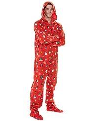 Footed Pajamas Holly Christmas Hoodie