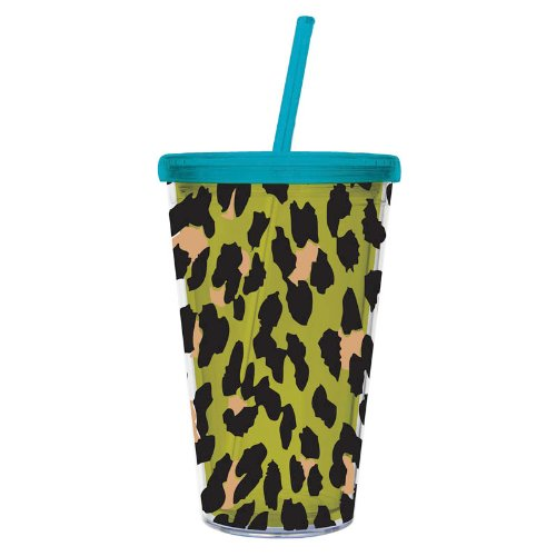 Cypress Insulated Cup W/Straw 17Oz, Green Leopard front-985502