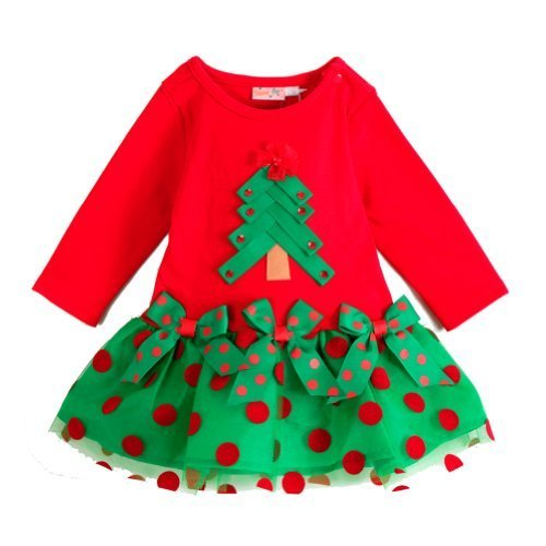 Little Wardrob Girl'S Christmas Trees Dress Red 2-3 Years