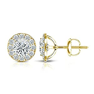 IGI Certified 18k Yellow Gold Round-cut Diamond Halo Stud Earrings (2 1/2 ct, White, SI1-SI2)