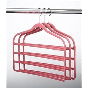ULTRA-SLIM VELVET 4 BAR PANT HANGERS - SET OF 3- Pink