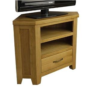 The Best  Chelsea Oak Corner Tv Plasma Dvd Video Unit Solid Cabinet Stand / Living Room Furniture