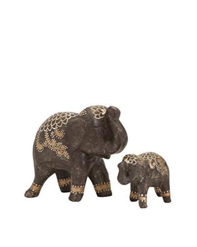Set Of 2 Wikiel Painted Elephants, Multi