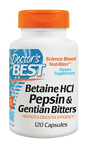 Doctor s Best Betaine HCI Pepsin and Gentian Bitters, Capsules, 120-Count