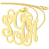 1.25 Inch 10K Solid Gold 3 Initials Monogram Pendant Laser Cut Out Premium Bridesmaids Gift Jewelry GM32