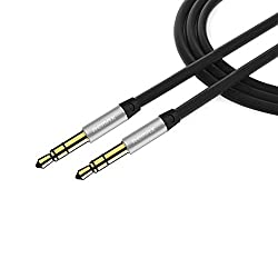 nkomax 3.5mm Gold Plated Premium Auxiliary Male To Male AUX Cable Suitable for iPad, iPhone, iPod, MP3 players, tablets, Samsung smartphones, home audio, speaker(black)