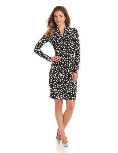 KAMALIKULTURE Women's Long Sleeve Side Draped Dress, Black/OW Oval Dot, X-Small
