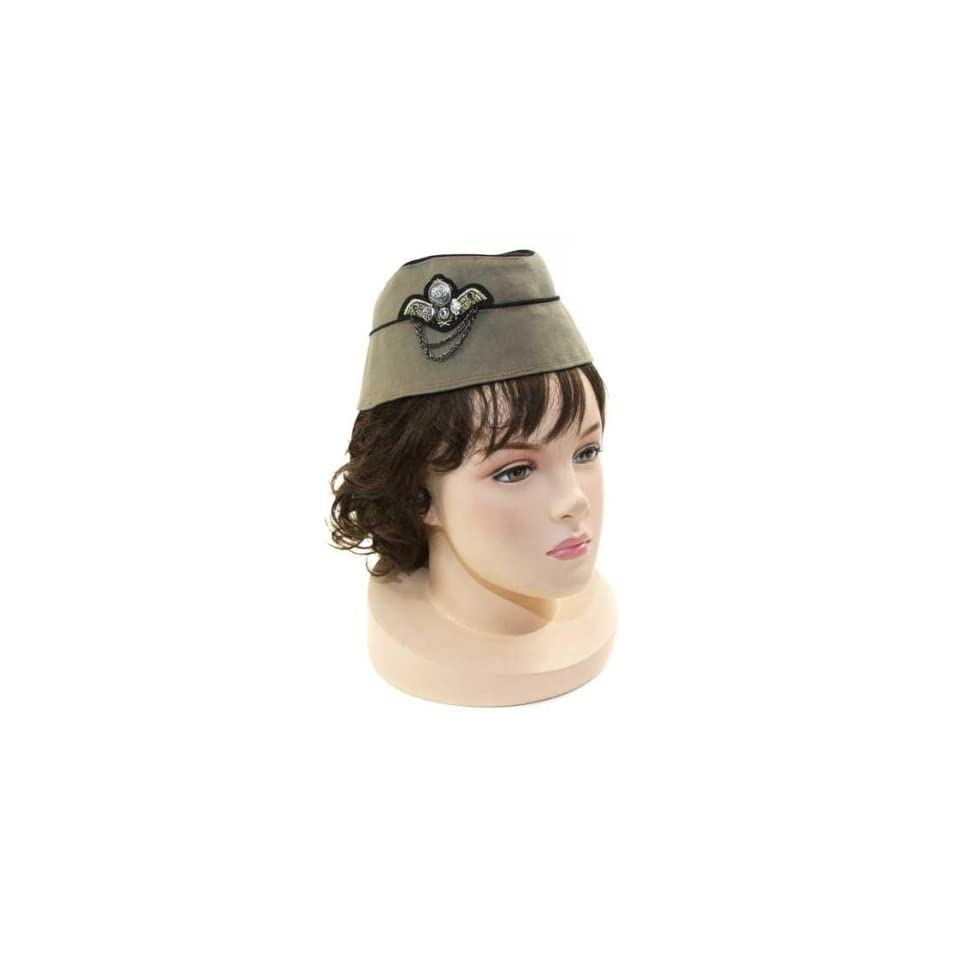 5373b4a34e6 NEW Ladies Airline Stewardess Military Style Fashion Hat with Pin Olive
