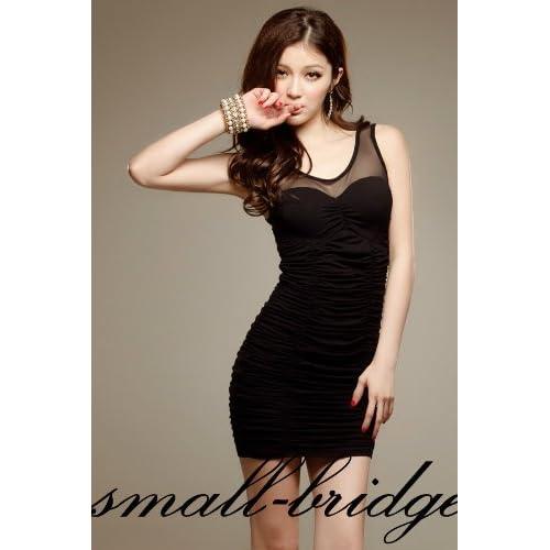 【small-bridge】 デコルテシースルー切り替えミニドレス アイマスク付セット ワンピ グラマラス タイト スレンダー ミニワンピ ドレス 結婚式 ボディコン A001_レディースファッション