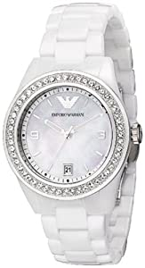 Emporio Armani Ladies White Ceramic Watch with White Dial and Stone Set Bezel