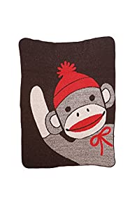Green 3 Apparel Recycled Made in USA Waving Sock Monkey Throw