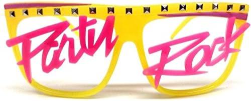 Glow in the Dark Party Rock Wayfarer Sunglasses Yellow Frame amp Pink Script