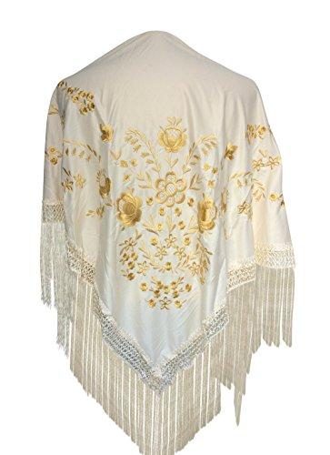 La Señorita Foulard cintura chale manton de manila Flamenco di danza bianco oro Large