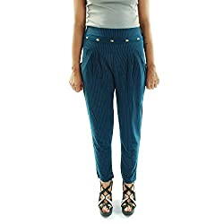 Amohaa Women's Polyster Harem Pant Blue Strip (Large)
