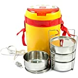 Milton Futron Electric Tiffin 4 Containers, Yellow-Red Colour