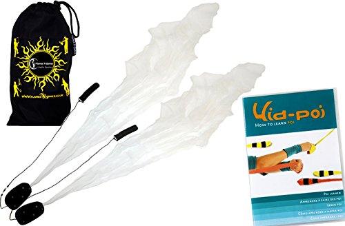 Flames N Games Angel Poi Set (White) Practice Poi Aka Scarf Spiral Poi + Kid Poi Dvd + Travel Bag
