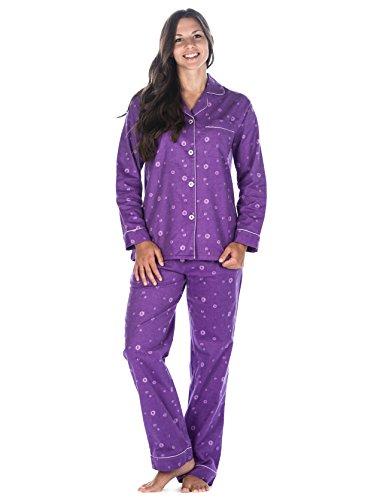 Womens cotton flannel pajama sleepwear set swirl for Womens flannel night shirts