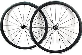 Farsports-700c Road 38mm Carbon Clincher Road Bike Wheelset with Alloy Brake - Black - Campagnolo