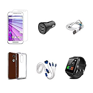 High Quality Combo of Moto G3 Temper Glass + Car Charger 2 USB + USB Data Cable + Transparent Back Cover + 4 in 1 USB Charging Cable
