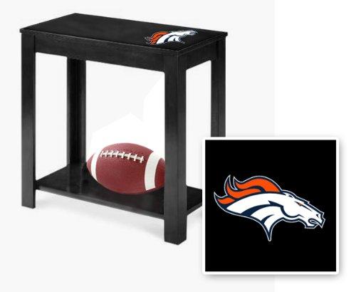 New Black Finish End Table Featuring Denver Broncos Nfl Team Logo