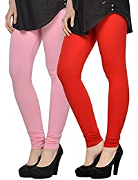 Kjaggs Women's Cotton Lycra Regular Fit Leggings Combo - Pack Of 2 (KTL-DB-2-18, Light Pink, Red)