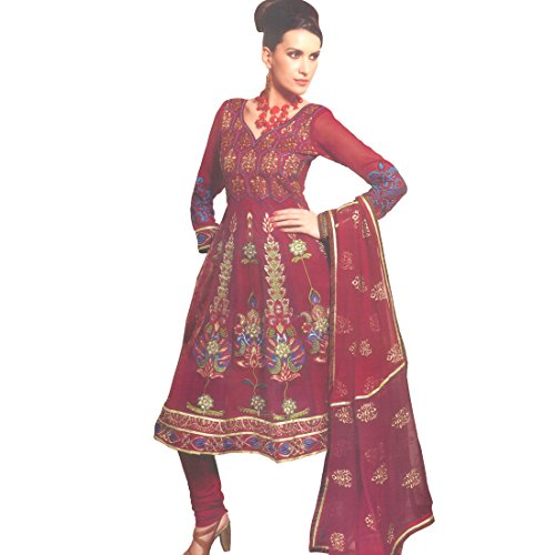 Radhika Sarees Red Net Embroidered Designer Party Wear Dress Material