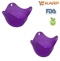 """KARPâ""""¢ Silicone Egg Poacher Cups Molds - BPA free, FDA approved, 100% food grade silicone,Set of 2 BPA Free Poaching Pods for Cooking Perfect Poached Eggs - Microwave or Stovetop Egg Cooker - Purple"""