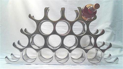 22 Bottle cast and polished solid aluminium wine rack