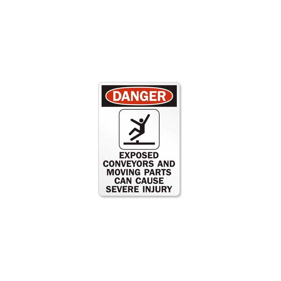 """Danger Exposed Conveyors and Moving Parts Can Cause Severe Injury, Plastic Sign, 14"""" x 10"""""""