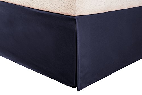 1500 Series 100% Microfiber Pleated Queen Bed Skirt Solid, Navy Blue - 15 Inch Drop and Wrinkle Resistant