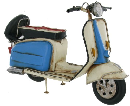 Collectable Blue And White Retro Scooter Metal Model (30 X 13 X 19cm)
