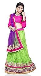 Jiya Presents Embroidered Net Lehenga Choli(Parrot Green,Rani)