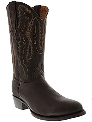 Veretta Boots - Men's Brown Real Leather Western Cowboy Boots Round Toe 7 E