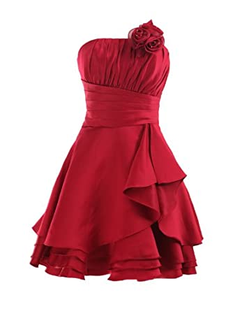 Landybridal Corset Knee Length A Line Satin Party Dress E22659 XL Dark Red