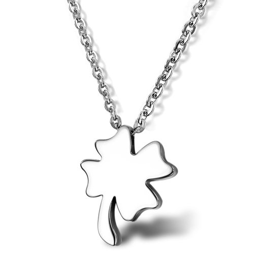 Opk Jewellery Fashion Stainless Steel Necklace Happiness Four Leaf Colver Popular Men's And Women's Lovely Penfant Necklets