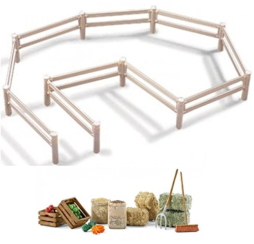 Schleich Farm Life Sturdy White Pasture Fence 40186 and Large Feed Set 42105 with Hay, Straw, Fruit, Pitchfork and Broom. Great accessories for your animals packaged together! (Hay Broom compare prices)