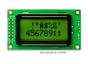 8x2 Character LCD Module Black on Yellow Green AMC0802BR-B-Y6WRN