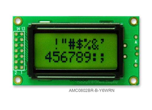8X2 Character Lcd Module Black On Yellow Green Amc0802Br-B-Y6Wrn