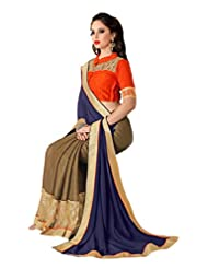 AG Lifestyle Olive & Blue Georgette Saree With Unstitched Blouse SAV4212