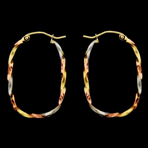 14KT Gold Hoops 3T LG Twisted Rectangular Shape