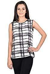 Whistle Assymetric Geometric Print Sleeveless Top